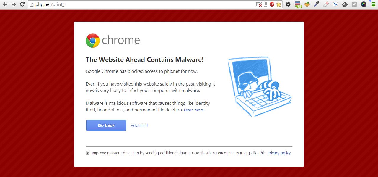 PHP Malware error
